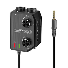 CoMica LINKFLEX AD3 Two-Channels XLR/3.5mm/6.35mm-3.5mm Audio Preamp Mixer Adapter Interface For 3.5mm DSLR Cameras Smartphones