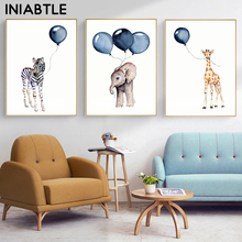 Watercolor Elephant Giraffe Ballon Cartoon Animal Print Wall Art Nursery Poster Canvas Painting Baby Kid Room Decoration Picture