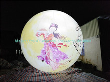 Sale of 6 meters luminous inflatable moon, Oxford cloth display ball
