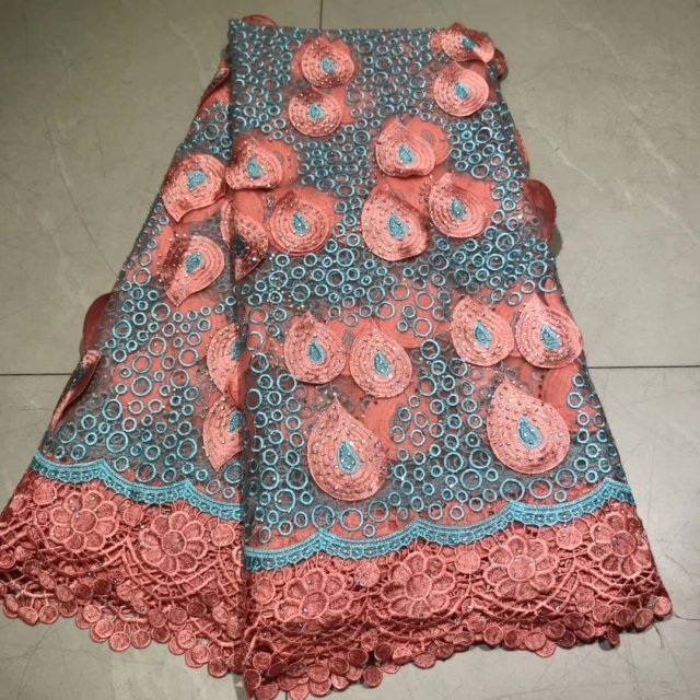 Pink African  Veritable Tulle Lace With Stones Fabric Floral Embroidery  African Nigerian High Quality Sewing Lace Dress