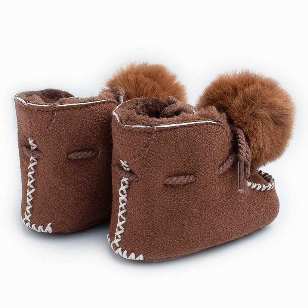 winter Casual Toddler Children Kids Baby Girls Boys Shoes Boots Plush Solid Printed First Walk Lace-up Hairball Keep Warm Shoes