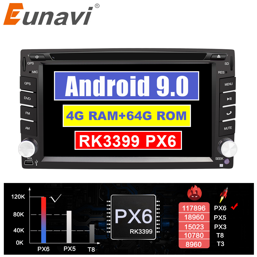 Eunavi Universal 2 Din Android 9 Car Dvd Player Multimedia Radio Stereo GPS Navi IPS Touch Screen Wifi Bluetooth TDA7851 8 Cores