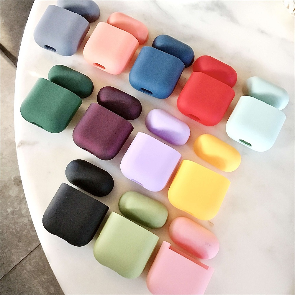 Original For Apple <font><b>Airpods</b></font> 1 2 Wireless Bluetooth Earphone Case Colorful Candy For Apple <font><b>AirPods</b></font> New PC Hard Cute Cover Box Case image