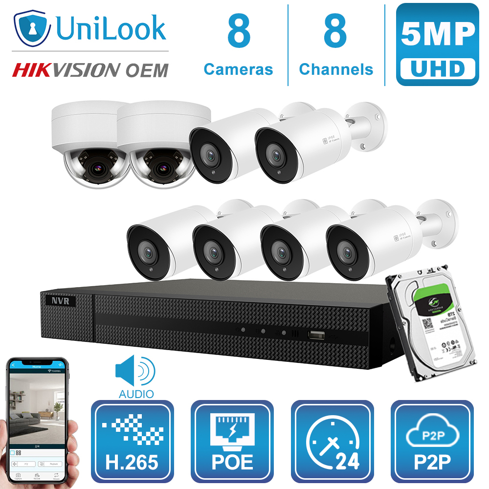 Hikvision OEM 8CH 4K NVR 5MP Dome&Bullet POE IP Camera 4/6/8PCS Outdoor Security Systems ONVIF H.265 CCTV NVR Kit 1/2/4TB HDD