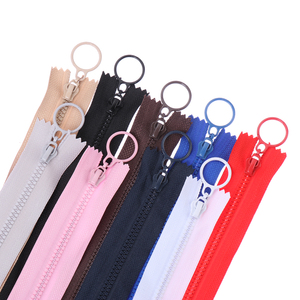 5pcs/pack 25cm resin zipper decorative children's Candy colors zippers round ring zipper for Sewing Bag garment accessories