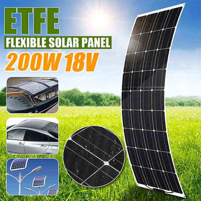 Flexible Solar Panel 200W 18V Waterproof Monocrystalline Solar Panel Battery Charger for Outdoor Camping Emergency Light