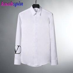 Новинка 2019, высокое качество, 100% чистый хлопок, мужская рубашка с длинным рукавом, приталенная сорочка homme, белая, повседневная, деловая, Мужс...