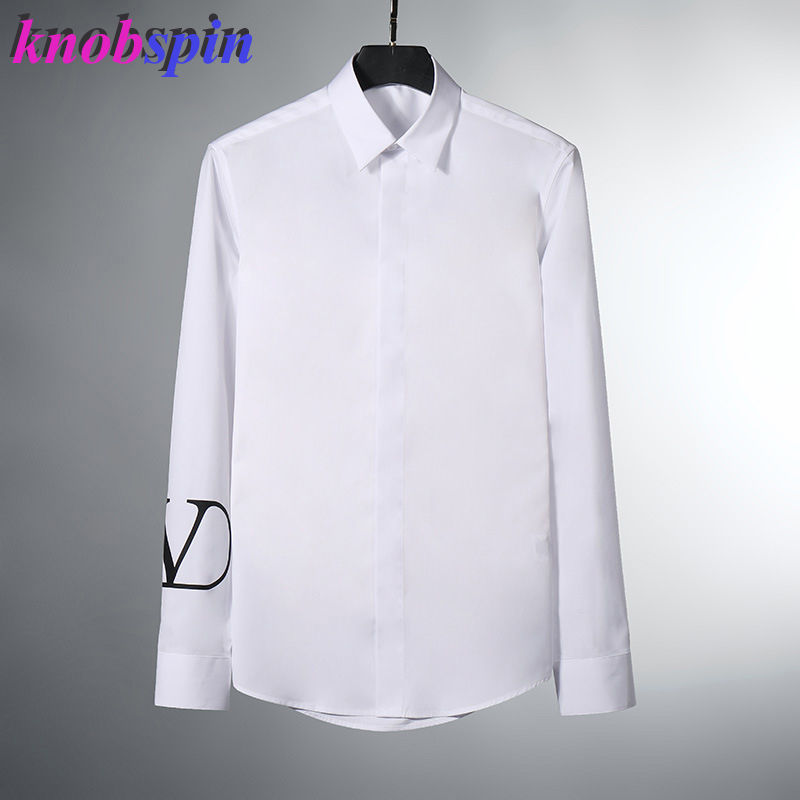 2019 New High Quality 100% Pure Cotton Shirt Men Long Sleeve Slim Chemise Homme White Casual Business Male Dress Shirts Big Size