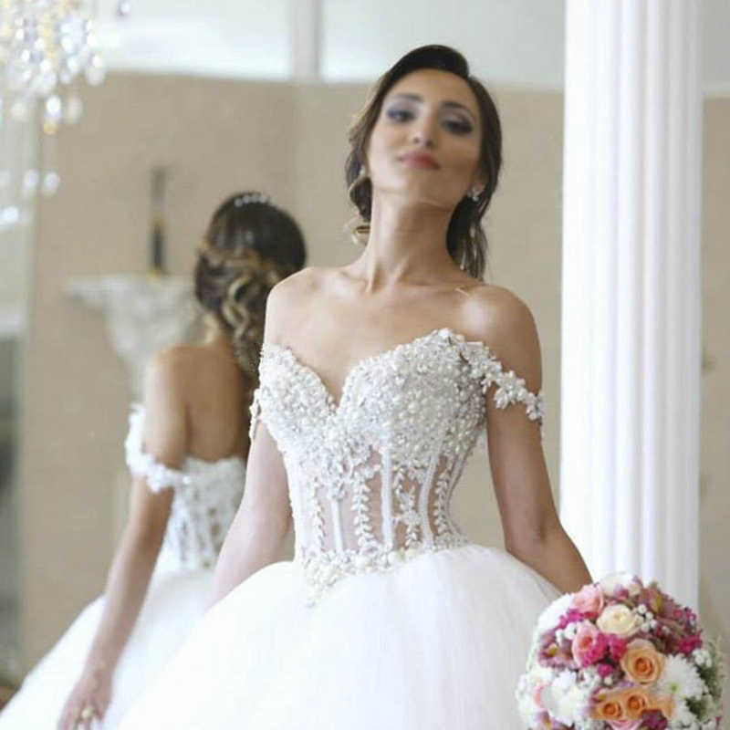 Роскошное бальное платье принцессы, свадебное платье, Открытое платье с лифом, открытыми плечами, жемчугом и бусинами, с аппликацией, фатиновые свадебные платья, Vestido de noiva