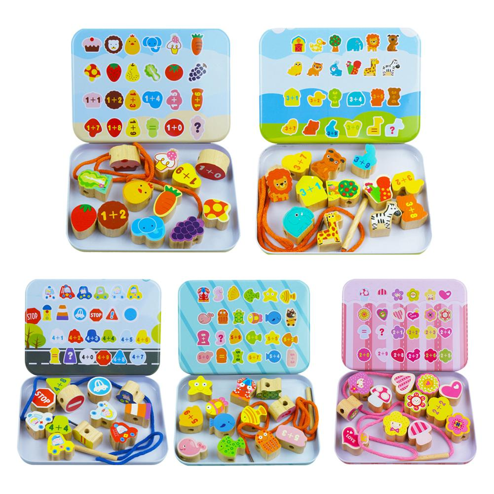 Wooden Toys Baby DIY Toy Cartoon Fruit Animal Stringing Threading Wooden Beads Toy Monterssori Educational For Children