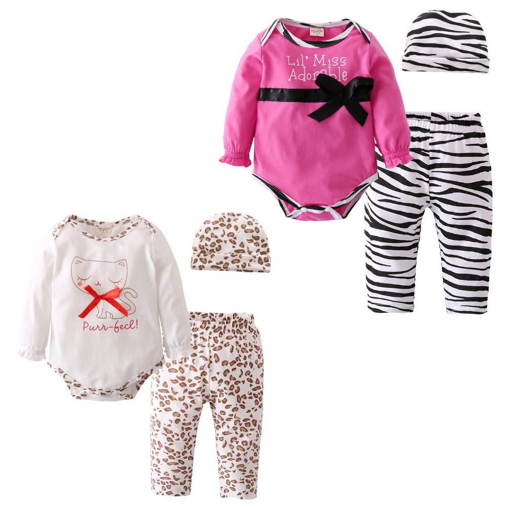 2020 Fashion Hot sell baby girl clothes set Infant cartoon Toddler baby romper+pants+hat 3pcs/set newborn baby clothing set