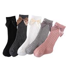 Носки трубки для малышей 0 3 лет с большим бантом милые Нескользящие