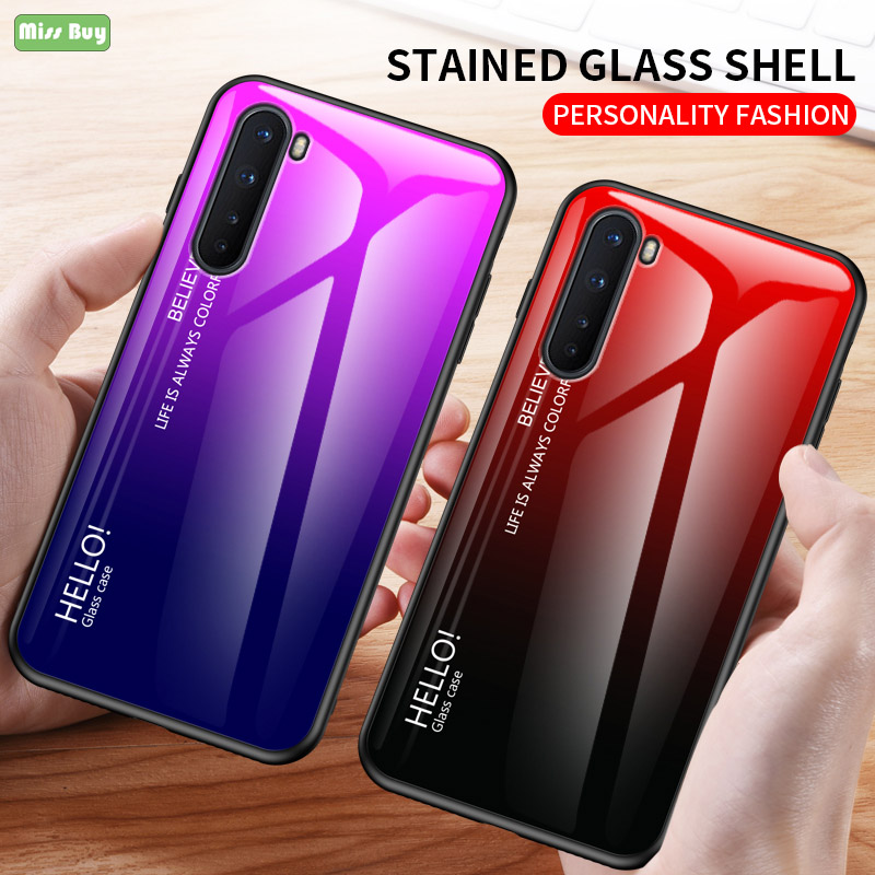 For OnePlus Nord Case Gradient Tempered Glass Capa For OnePlus Nord Phone Cover Coque Soft Silicone TPU Edge Bumper Hard Fundas