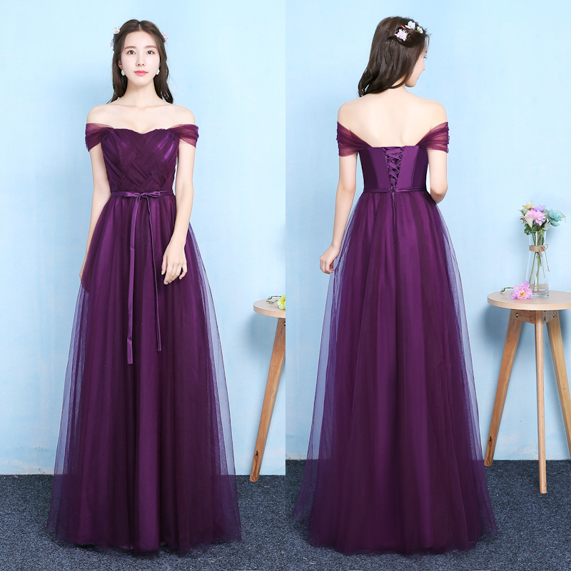 Long Grape Purple Bridemaid Dress Plus Size Tulle Floor Length Criss-cross Guest Wedding Party Dress Simple Sexy Prom Vestido