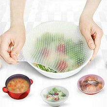 Stretch And Fresh 4-Piece Silicone Food Wrap Sealed Environmental Clean Wash Multi-Function Bowl Lid Kitchen Tools
