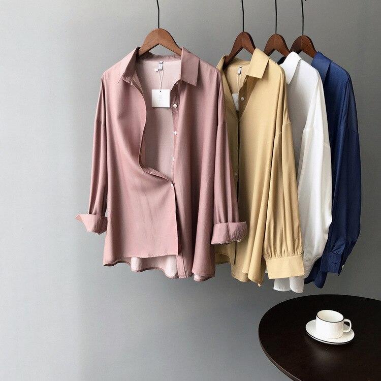 Mooirue Spring Autumn 2019 Femme Korean Blouse Lapel Long Turn-down Collar Shirt Lady Boho Tops
