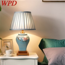 WPD Ceramic Table Lamps Blue Luxury Brass Fabric Desk Light Home Decorative for Living Room Dining Room Bedroom