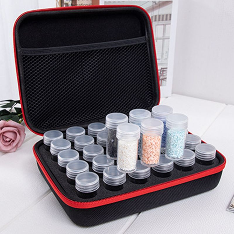 30 Slot Diamond Painting Storage Case Tool Diamond Painting Bag With Mesh Compartment And 30 Plastic Bottles in DIY Craft Storage from Home Garden
