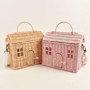 Nordic Style INS Fashion Handmade Rattan Vintage Basket bag Kids Shoulder Bag House Shape Best Gift for Girls Crossbody bag