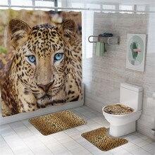 4pcs Bathroom Shower Curtain Waterproof leopard Bathroom Curtain Set Toilet Cover Mat Non-Slip bathroom set with shower curtain shower curtain set bathroom alcachofa ducha pommeau pomme de douche tapa bocas con filtro soffione doccia chuveiro doccetta