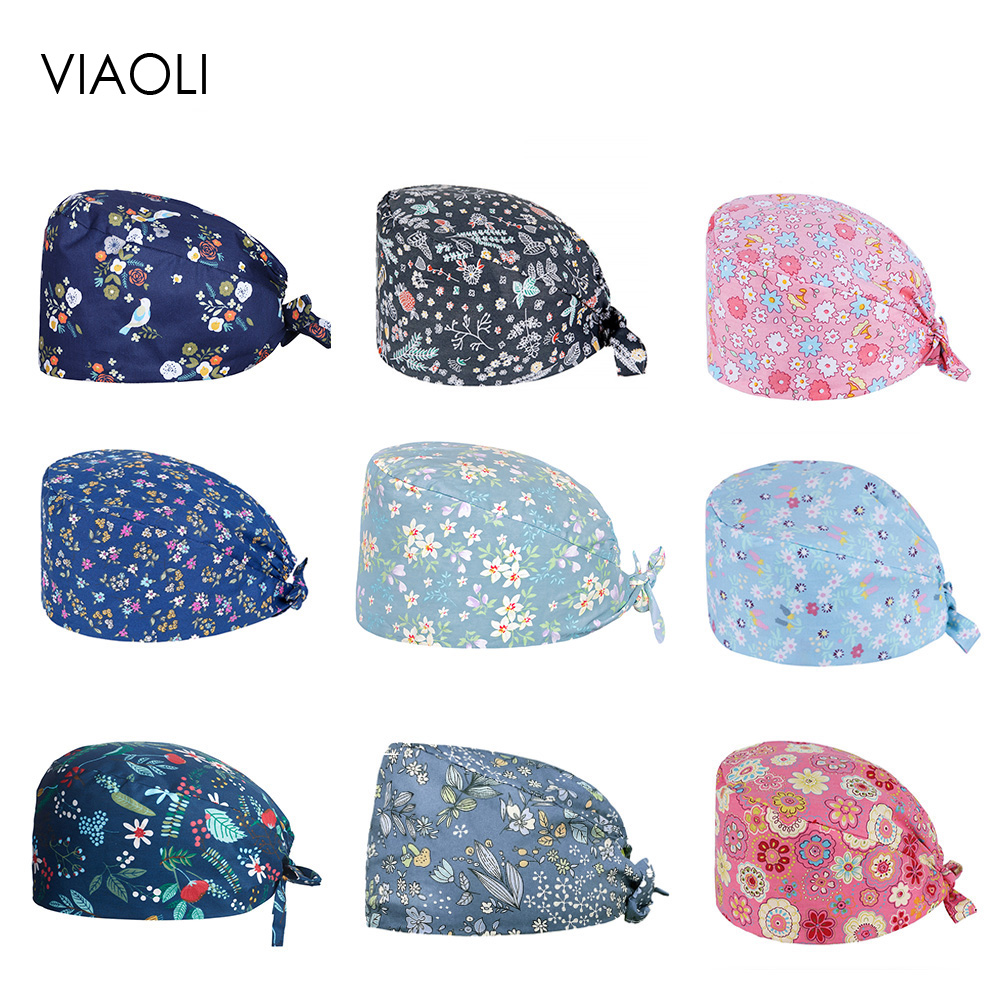 Doctor Cap Surgery Cap Lab Work Hat Nurse Accessories Medical Outfit Operation Hat Beauty Salon Cap Cotton Scrub Hats Wholesale