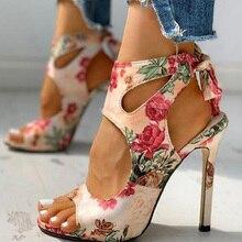 Plus Size Fashion Ladies Sandals Floral Print Hollow Out Peep Toe Women's