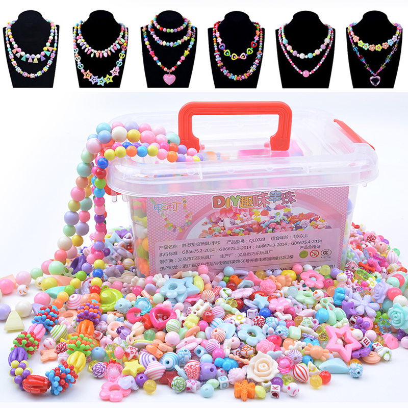 1000Pcs DIY Beads Toys Children With Storage Box Handmade Educational Creative Bracelet Jewelry Girl Jewelry Making Toys Gift