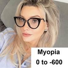 Gafas de miopía con luz azul para mujer, anteojos de marca de lujo con montura de ojo de gato, transparentes, Vintage, grados-2-3,5