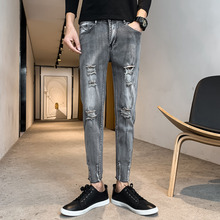 купить Autumn New Skinny Jeans Men Fashion Wash Retro Casual Hole Denim Pants Men Streetwear Hip Hop Jean Trousers Man Slim Clothes дешево