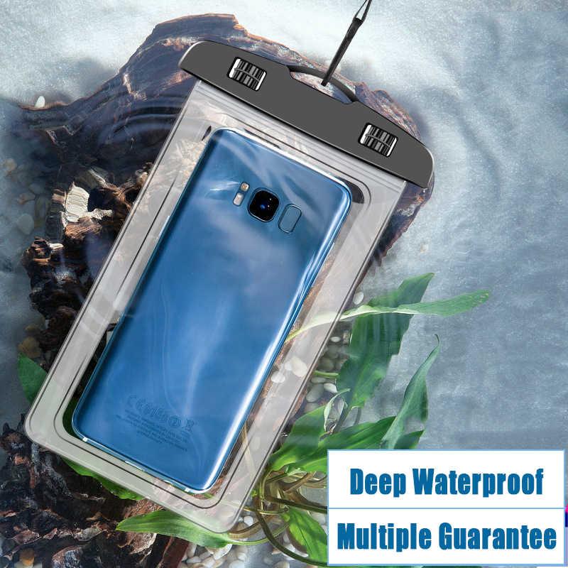 Su geçirmez iphone için kılıf XS Max XR X 8 7 6 artı Samsung Xiaomi Redmi Huawei kapak su geçirmez çanta cep telefonu kılıfı