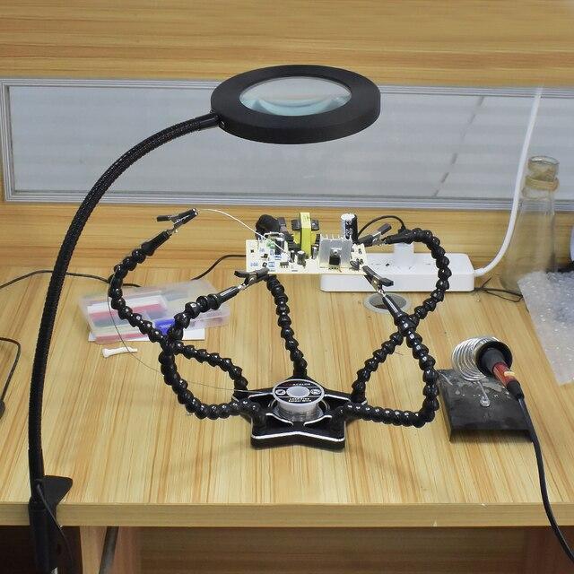 newacalox usb 3x/5x настольные тиски стол зажимная лупа светодиодный фотография