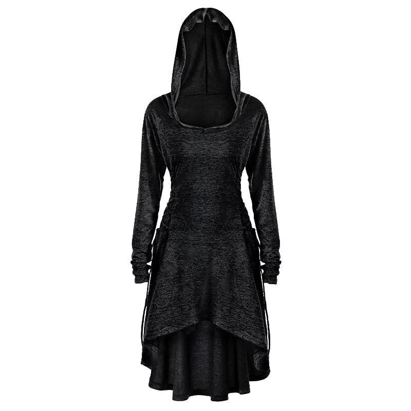 Rosetic Women Hooded Sweatshirt Irregular Hem Plus Size 5XL Clothes Simple Casual Gothic Chic Black Top 2019 Autumn Winter New