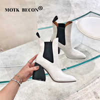 MOTK BECON Ankle Boots for Women Square High Heel Boots Winter Pointed Toe Crocodile Leather Boots Ladies Shoes Botas Mujer P22