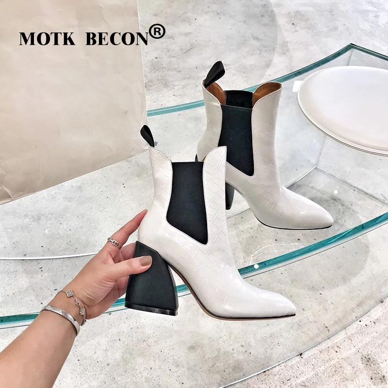 Motk becon tornozelo botas para mulher quadrado botas de salto alto inverno apontou toe couro de crocodilo botas senhoras sapatos botas mujer p22