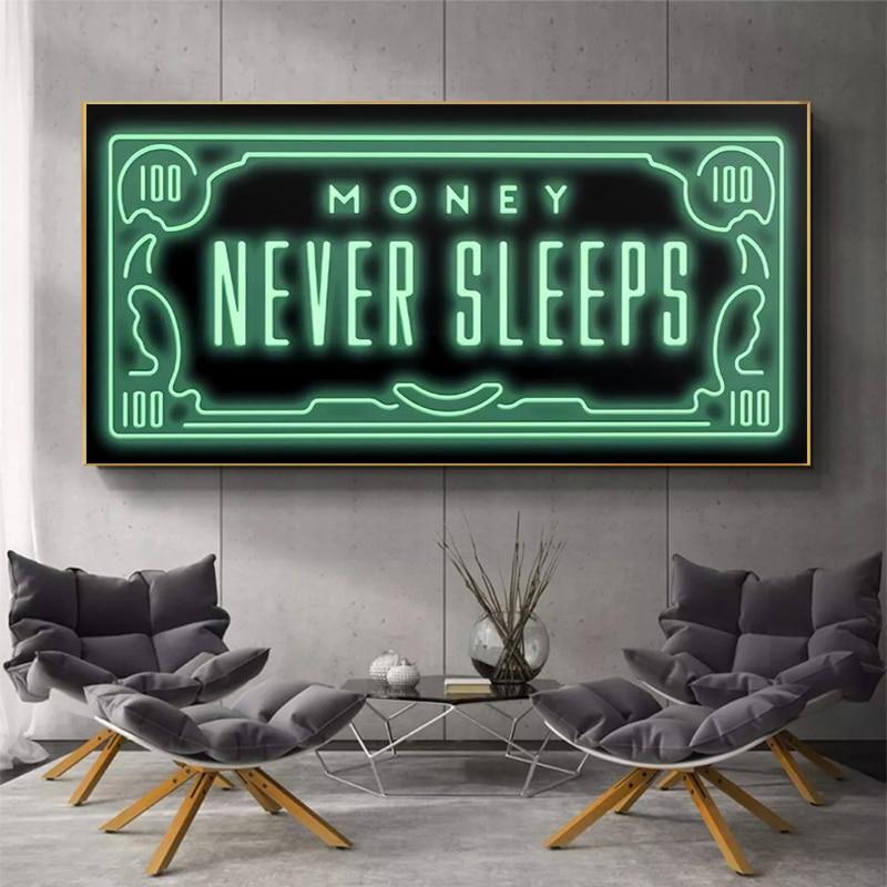 Geld Nie Schläft Leinwand Kunst Poster Und Drucke Inspirierende Phrasen Leinwand Gemälde Auf die Wand Kunst Bilder Home Wand Decor