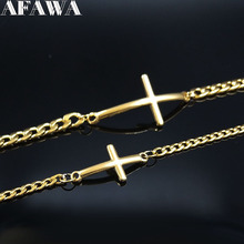 2pcs 2019 Fashion Cross Stainless Steel Bracelets for Couple Chain Bracelet Gold Color Jewelry pulsera pareja B18509