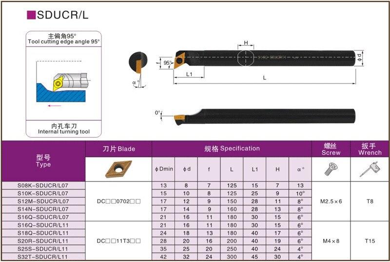 За пределами внутреннего токарного инструмента держатель S08K S10K S12M S14N S16Q sdcr sdure07 8 мм 12 мм расточные стержни твердосплавные вставки токарный станок Режущий инструмент