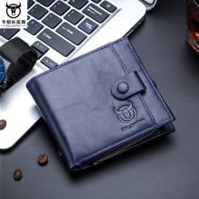 BULL CAPTAIN Brand RFID Genuine Leather Hasp Pocket Wallet Men's Cardholder Zipper Coin Bag Men Business Casual Purse