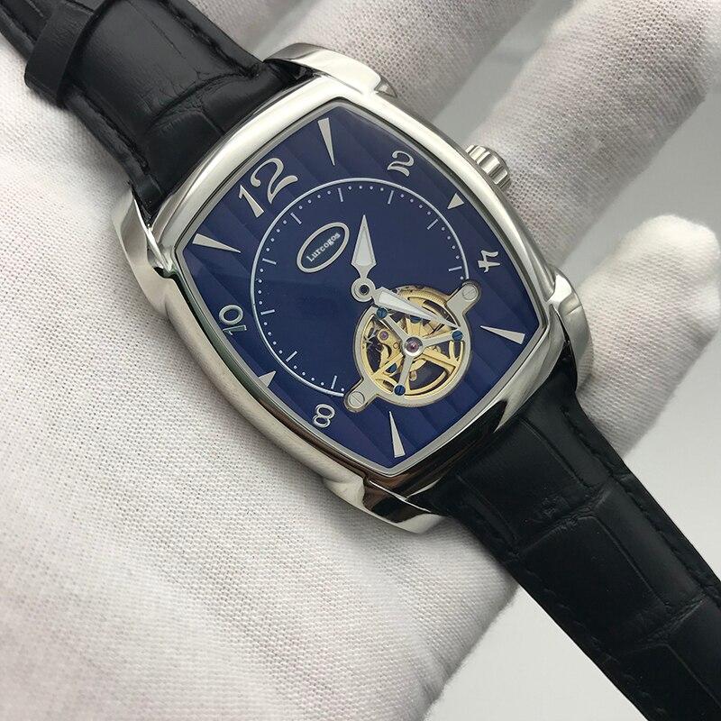 2019 nouvelle vente chaude hommes KA montre cadran blanc bracelet brun 34mm taille pa meilleure qualité 316L en acier inoxydable automatique squelette montre A