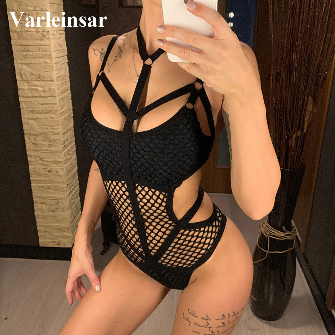 XS - 5XL Sheer Knit Fish Net Mesh Large Plus Size Swimwear Women One Piece Swimsuit Female Bather Bathing Suit Swim Beach V536B