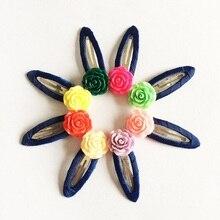 1 Pcs/lot Fashion Kawaii Kids Hair Clip Rose Hairpin Solid Children Girls Clips Headband Candy Color Barrette Hairpins