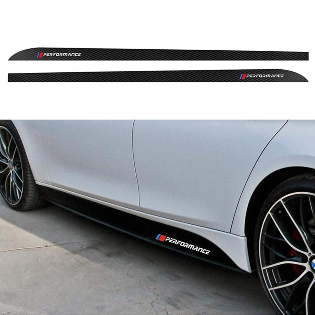 2pcs 5D Carbon Fiber Vinyl <font><b>Car</b></font> Side Skirt Sill Racing <font><b>Stripe</b></font> Stylish For <font><b>BMW</b></font> F30 F31 E60 E61 F32 F33 F10 F15 F16 <font><b>Car</b></font> Sticker image