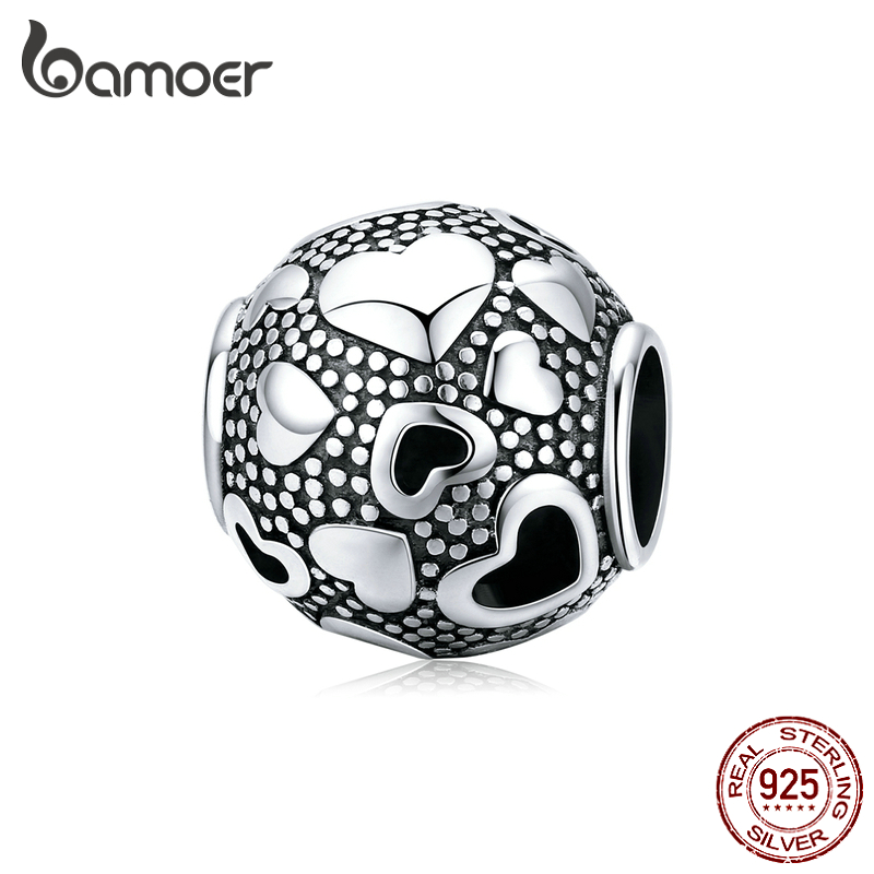 Bamoer Retro Heart Metal Beads For Jewelry Making 925 Sterling Silver Charm Fit Original Bracelet Female Jewelry Bijoux SCC1451