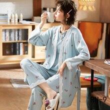 Женский пижамный комплект из 3 предметов, милый Повседневный пижамный комплект для беременных с длинными рукавами, осенний хлопковый Пижамный комплект для кормящих женщин, Пижамный костюм