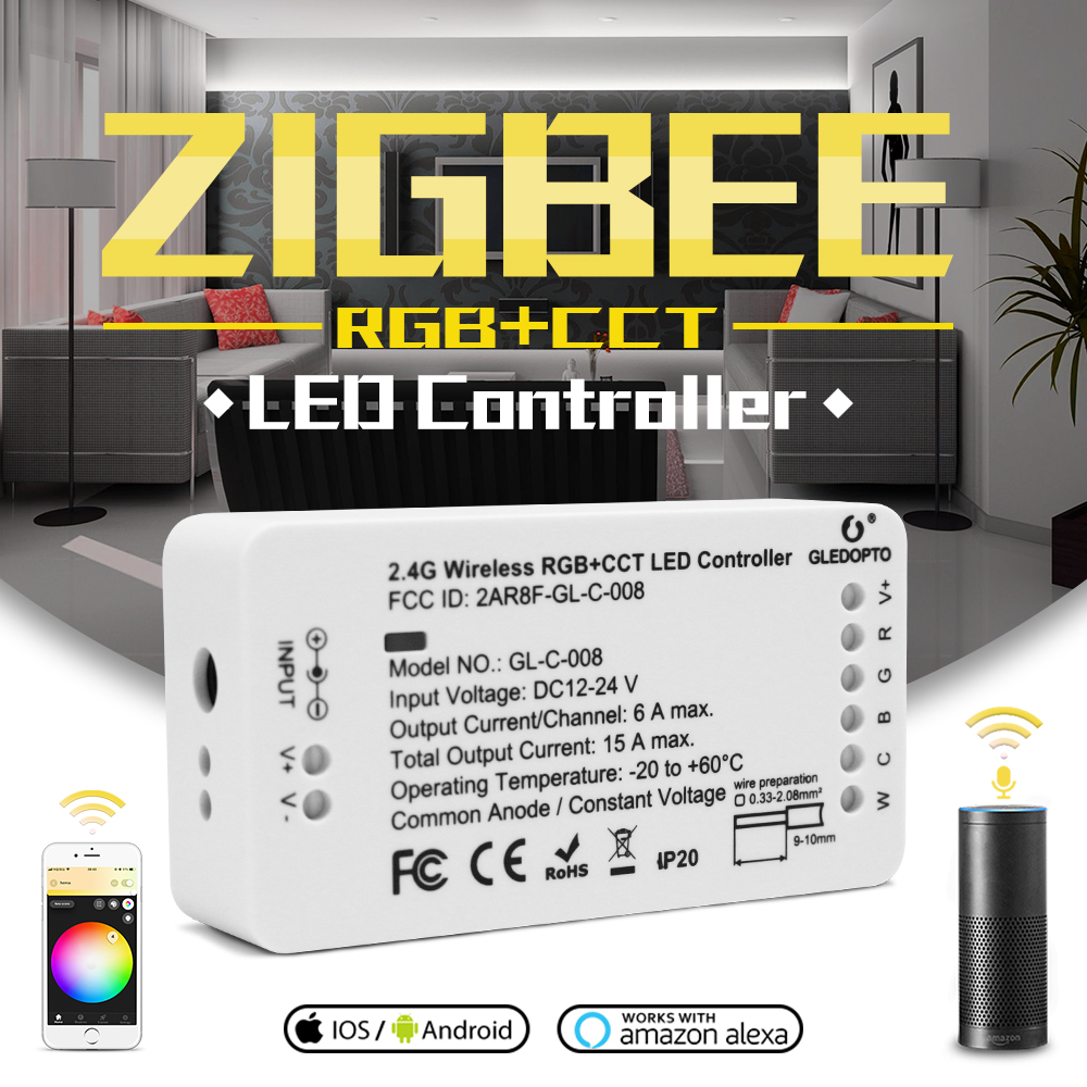 GLEDOPTO ZIGBEE Controller Zll  Link Light RGB+CCT Led Strip Controller Dc12-24v App Control Work  Compatible With  Zigbee 3.0