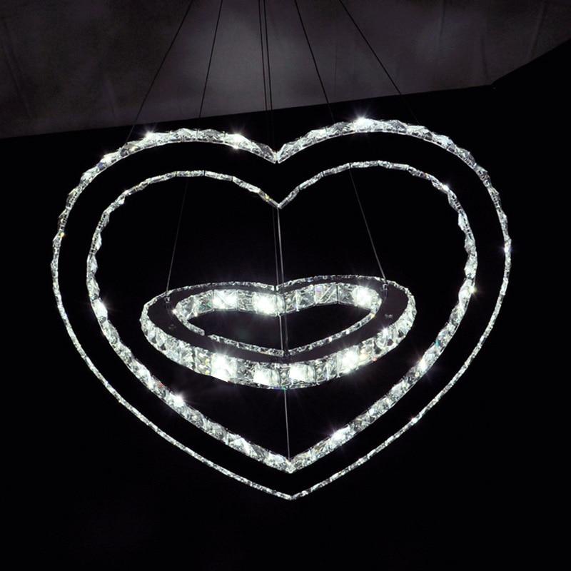 Creative Stainless Steel K9 Crystal Glass Romance Double Heart Shape Led Lighting Pendant Light Fixtures Home Decor Luminaire