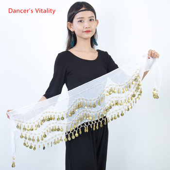 Belly dance belt costumes sequins tassel belly hip scarf for women dancing belts indain colors 128 coin - discount item  69% OFF Stage & Dance Wear