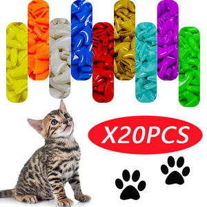 20pcs Anti- Scratch Silicone Soft Cat Nail Caps / Cat Paw Claw / Pet Nail Protector/Cat Nail Cover with free Glue and Applictor
