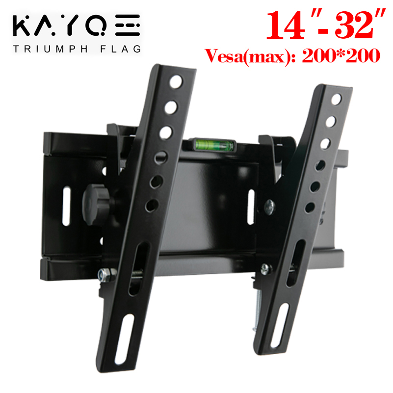 Universal 25KG Adjustable Tilt TV Wall Mount Bracket Flat Panel TV Frame Support 15 Tilt for 14-32 Inch LCD LED Monitor 55lbs 1