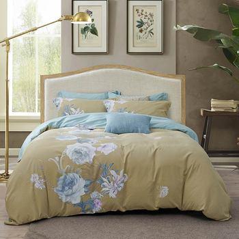Papa&Mima Sanding Cotton Bedding Set Printed Thick Linens Sheet Pillowcase Duvet Cover - discount item  40% OFF Home Textile